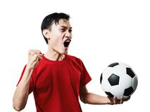 Азиатский футбол поклонника футбола тайских людей в красном isolat рубашки рукава Стоковые Изображения RF
