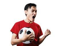 Азиатский футбол поклонника футбола тайских людей в красном isolat рубашки рукава Стоковое Фото
