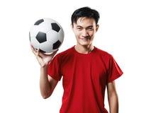 Азиатский футбол поклонника футбола тайских людей в красном isolat рубашки рукава Стоковые Фото