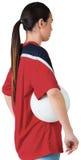 Азиатский футбольный болельщик держа шарик Стоковая Фотография RF