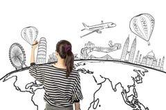 Азиатский чертеж женщины или мечта сочинительства путешествуют по всему миру стоковое изображение