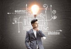 Азиатский человек, решение, электрическая лампочка, доска Стоковые Изображения RF