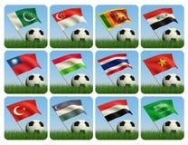 азиатский шарик 3d flags трава Стоковые Изображения RF