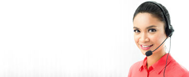 Азиатский штат центра телефонного обслуживания женщины Стоковые Изображения