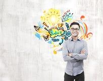 Азиатский эскиз человека и идеи на бетоне Стоковые Фото