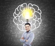 Азиатский эскиз человека и электрической лампочки и мозга Стоковое Изображение