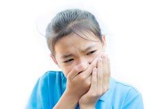 Азиатский toothache валки девушки на белой предпосылке Стоковое Изображение RF