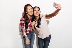 2 азиатских жизнерадостных положительных сестры дам делают selfie Стоковое Изображение
