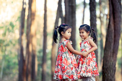 2 азиатских маленькой девочки имея потеху, который нужно сыграть совместно Стоковое Изображение RF