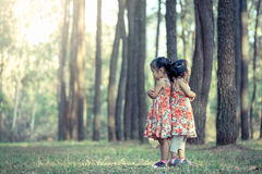 2 азиатских маленькой девочки обнимают их комод Стоковая Фотография RF