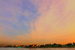 Азиатское въетнамское небо острова и захода солнца Стоковые Изображения