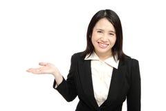 азиатское дело вводит женщину усмешки Стоковое Изображение RF