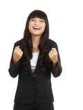 азиатское дело празднуя женщину успеха Стоковые Фото