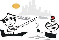 азиатское рыболовство шаржа иллюстрация вектора