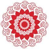 Азиатское украшение татуировки хны состава свадьбы воодушевило цветок, флористическую форму с элементами сердца в белом и красном Стоковые Фотографии RF