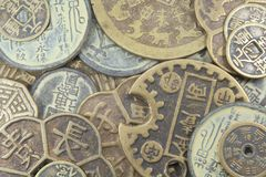 азиатское дело чеканит валюту старую Стоковое Изображение