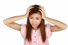 азиатско имеющ детенышей женщины головной боли Стоковое Фото
