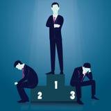 азиат за молотком принципиальной схемы конкуренции бизнесмена дела bowing держа 2 Бизнесмен победителя иллюстрация вектора