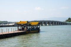 Азиат Китай, Пекин, летний дворец, мост 17-Arch Стоковая Фотография