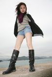 азиат boots носить девушки Стоковая Фотография
