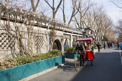 Азия Китай, Пекин, живописная местность Shichahai, рикша стоковая фотография rf