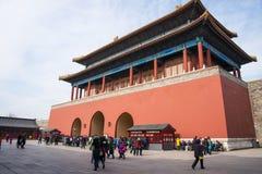 Азия Китай, Пекин, имперский дворец, дверь конца ŒThe ¼ architectureï ландшафта, пол строба Стоковые Изображения