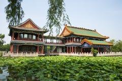 Азия Китай, Пекин, парк озера Longtan, ландшафт лета, павильон, зеленый пруд лотоса Стоковые Фото