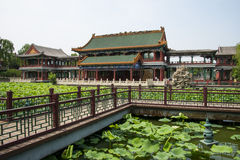 Азия Китай, Пекин, парк озера Longtan, ландшафт лета, павильон, зеленый пруд лотоса Стоковое Фото