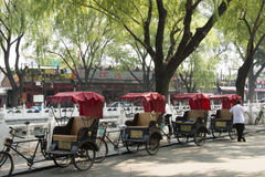 Азия, Китай, Пекин, Shichahai, путешествие Hutong, трицикл, рикша Стоковые Фото