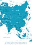 Азия - ярлыки карты и навигации - иллюстрация Стоковое Изображение