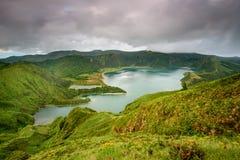 Азорские островы изумляя Lagoa делают лагуну Fogo Стоковые Фото