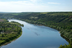 Аисты летают над рекой панорама Стоковые Изображения
