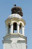 аист гнездя купола церков Стоковые Фото