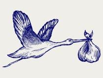 Аист и младенец бесплатная иллюстрация