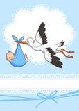 Аист носит ребёнок Шаблон приглашения шаблон, вектор, иллюстрация приветствие Стоковые Изображения