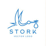 Аист приносит младенца, ультрамодного плана логотипов бренда Стоковая Фотография RF
