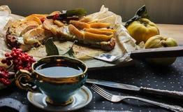 Айва флана с циннамоном и клюквами custard Печенье Shortcrust стоковые фото
