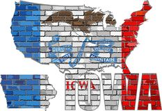 Айова на кирпичной стене Стоковые Изображения