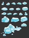 Айсберг покрыл шарж комплекта снега большой Лед и айсберги в равновеликом плоском стиле 3d Изолированный комплект различного блок иллюстрация штока