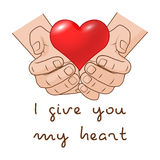дайте сердцу i моему вас Сердце в руке романтичной концепции подарка на день валентинок Стоковые Изображения