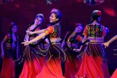 Академии танца Uygur танца ` s детей испытания розовой Пекина сортируя выставка Цзянси достижения выдающего уча стоковая фотография rf