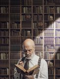 Академичный профессор в удерживании библиотеки книга стоковая фотография rf