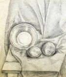 Академичный чертеж плодоовощ и плиты Стоковая Фотография RF