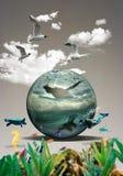 Акваланг-водолаз плавает над кораллы под морем бесплатная иллюстрация
