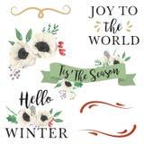 Акварель выходит флористическому рождеству Tis зимы знамена ягод сезона бесплатная иллюстрация