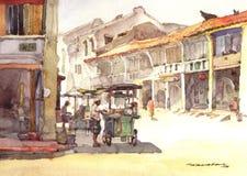 акварель городка пейзажа картины Стоковое Изображение RF