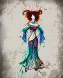 Акварель девушки гороскопа Aries иллюстрация вектора