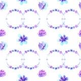 Акварель делает по образцу безшовную картину, фиолетов-голубые цветки бесплатная иллюстрация
