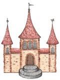 Акварель замка принцессы на белой предпосылке искусство иллюстрация вектора