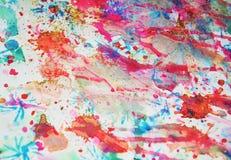 Акварель запачкала предпосылку в пастельных, розовых, фиолетовых голубых оранжевых цветах Стоковое Изображение RF